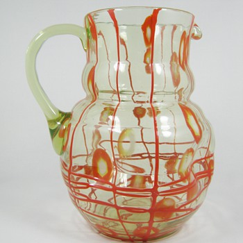 Czech Art Deco Uranium Glass Lemonade Set Red Threading and Millefiori Kralik ca. 1930's - Art Glass