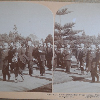 1901 Steroscope Card - President McKinley & Civil War Vets in Los Angeles