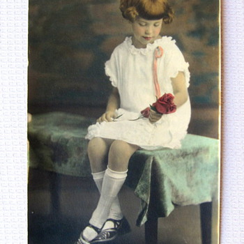 1880's to 1900's Girl with a Rose Photo