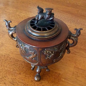 Bronze Incense Burner Japanese Fu Dog