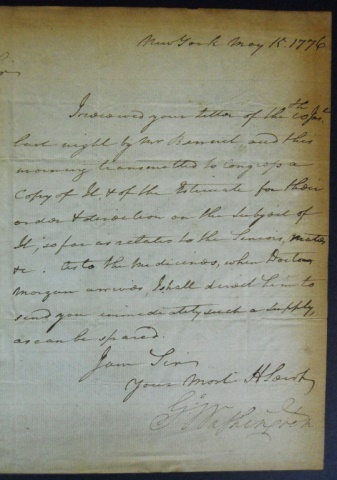Letter From George Washington To Dr Samuel Stringer New York 15 May 1776 In The Hand Of