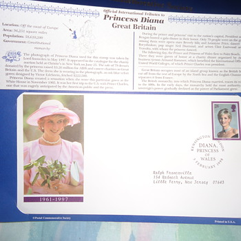 frist day cover..PRINCESS DIANA..FROM GREAT BRITAIN... - Stamps