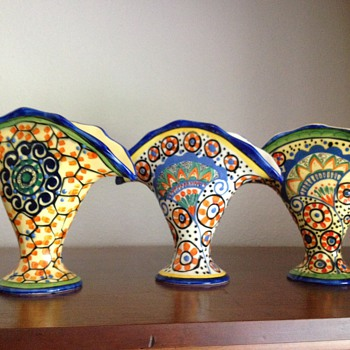 Czech fan vase collection - Art Pottery