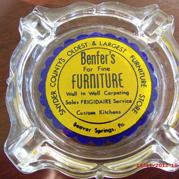 An Advertising Ashtray from Benfer's Furniture in Beaver Springs, PA