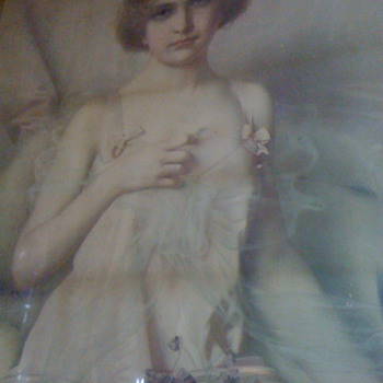 NEED HELP WITH SIGNATURE OF THIS 1900 PAINTING OF LADY WITH VALINTINE CARD WITH RED HEART