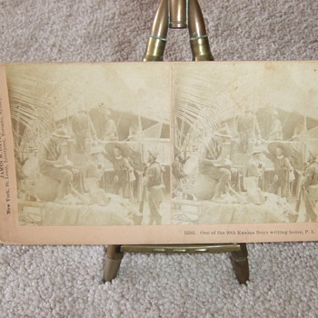 Stereoview of 20th Kansas soldiers - Military and Wartime
