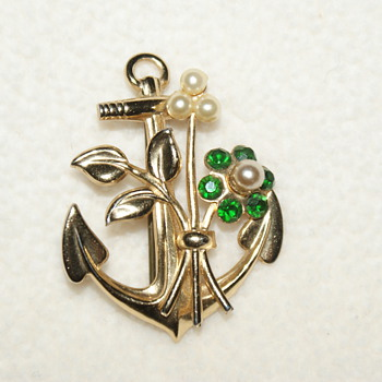 Coro Costume Pin with Anchor and Flower - Costume Jewelry