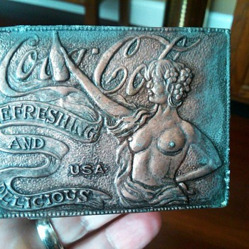 Naked lady belt buckle - Coca-Cola