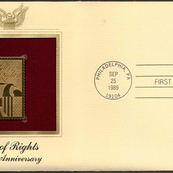 "1989 - ""Bill of Rights"" Stamp First Day Cover"