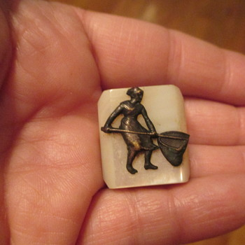 Mother of Pearl with Lady Holding Long Handle Basket Shirt Stud