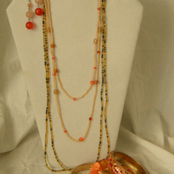Vintage Bead Necklaces and Vintage Metal Enamel Bracelets - Costume Jewelry