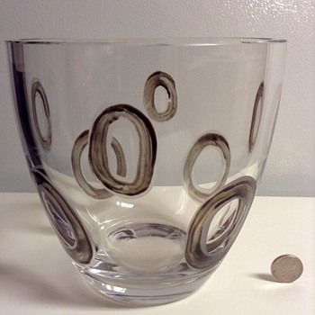 Mid Century Modern Crystal Bowl with Dark Etched Circles