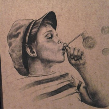 Boy blowing bubbles - Folk Art