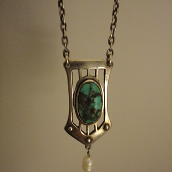 German Jugendstil silver & turquoise pendant and chain