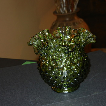 Green  ruffled glass vase? - Glassware