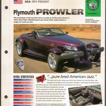 Hot Cars Card - Plymouth Prowler - Classic Cars