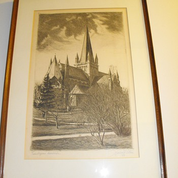 Etching from Halvard Storm.  1928.  England church. - Posters and Prints