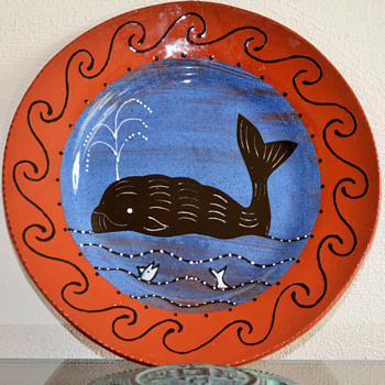 Decorated Redware Plate - Art Pottery
