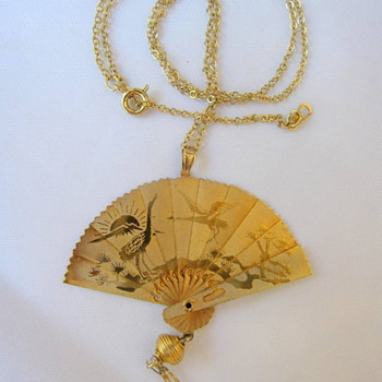 Unknown Maker GF Folding Fan Pendant - Costume Jewelry
