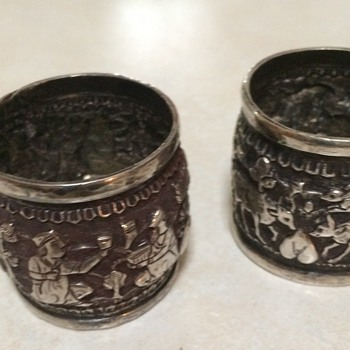 Persian/Indian Silver Napkin Rings - Sterling Silver