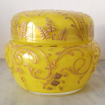 Pretty enamelled dressing table pot  - Art Glass