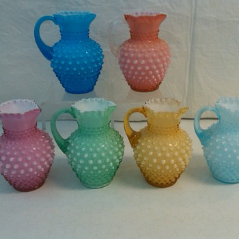 COMPLETE SET OF FENTON OVERLAY HOBNAIL SYRUP JUGS