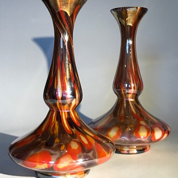 Kralik pair of Iris caned vases (millefiori) - Art Glass