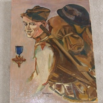 WW1 illustrator style oil on canvas of Occupation Soldier c. 1919