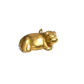 Vintage Metropolitan Museum of Arts Gold Hippopotamus Charm Pendant