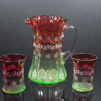 Enameled Rubina Verde Water Set - Glassware
