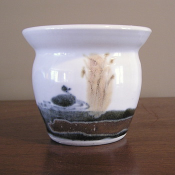 Jan Mann's tiny little pond scene pot - Art Pottery