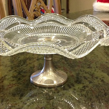 Cake plate, Glass and silver
