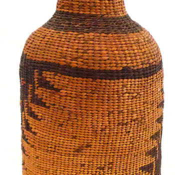Dark Amber Bottle with Woven Indian Motif - Bottles