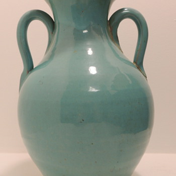Large Blue/Green Earthenware Vase - Art Pottery