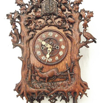"1863, (EARLY) Beha ""herschfaller"" wall clock. 8-day twin fusee. (wood plate) - Clocks"