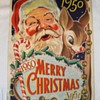 Vintage 1950 Merry Christmas Santa Claus Rudolf Reindeer Lithograph Poster Print