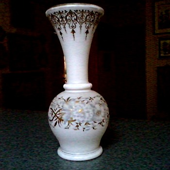 "Large 13"" Opaline Glass Vase / Silver Floral Design with Gilt Accents / Unknown Maker and Age - Art Glass"