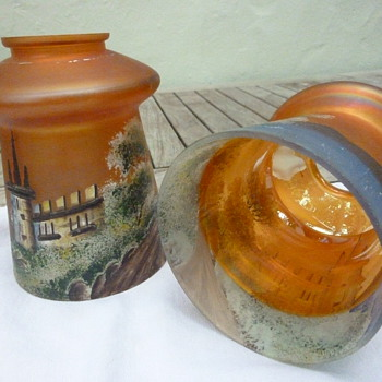 Hand Painted Pair of Glass Lampshades