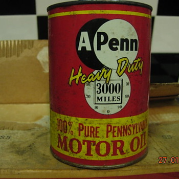 A-Penn 30 Motor oil 1 Case of metal cans in new condition - Petroliana