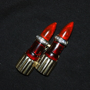 Unmarked Costume Brooch - Lipstick - Costume Jewelry