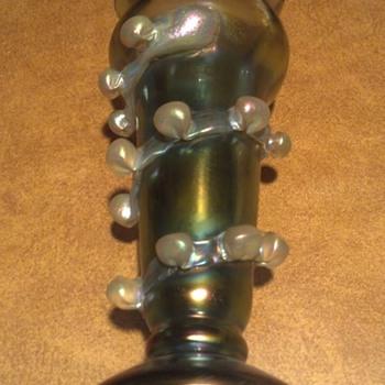 Green Iridescent Pearl Vase - Art Glass