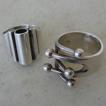 2 mid-century sterling rings
