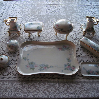Lovely handpainted porcelain dresser set