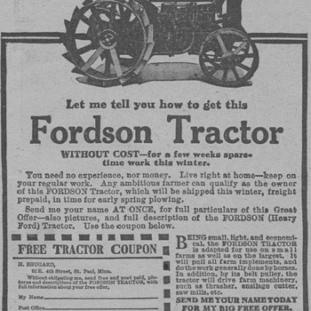 1919 Fordson Tractor Advertisement - Advertising