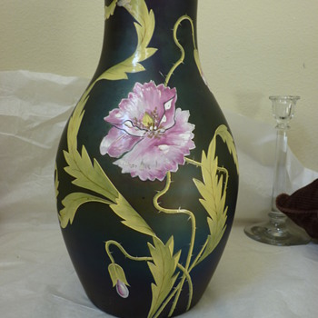 Giant Poschinger dark iridescent and enameled vase - Art Glass