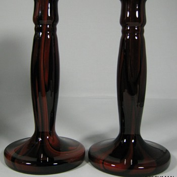 "ART DECO ERA CZECHOSLOVAKIA GLASS CANDLESTCK SET BY KRALIK ""MARBLED"" DECOR"