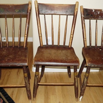 Old New England Wooden Kitchen Chairs