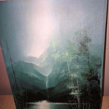Small Mountain Scene Oil on Canvas - Visual Art