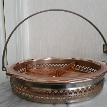 Pink depression glass condiment serving dish