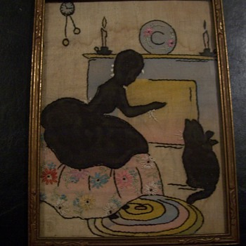 HAND STITCHED- SILLOUETTE NEEDLEPOINT - Folk Art
